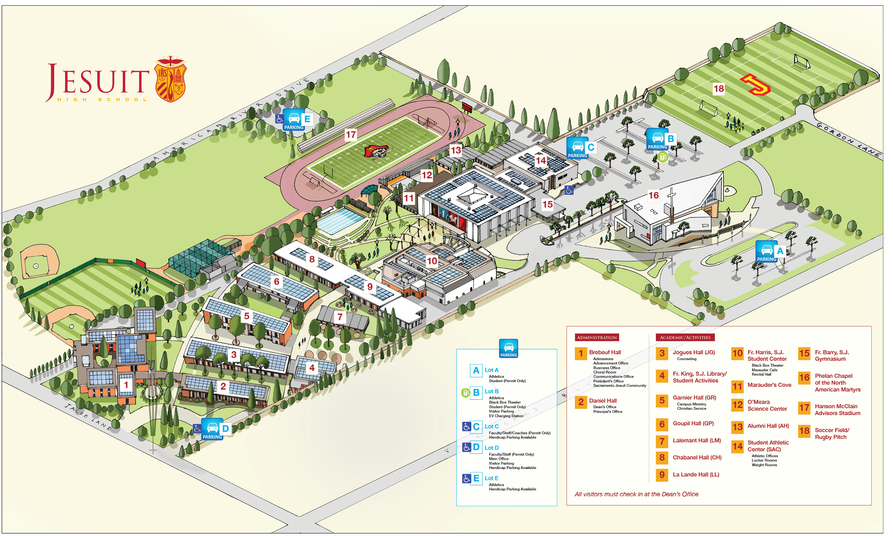 Campus Directions Jesuit High School - Map sites for directions
