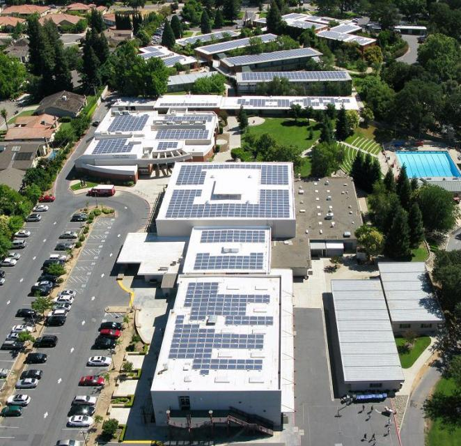 Arial photo showing the solar panels on top of the school buildings.
