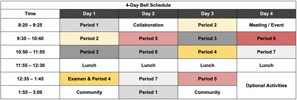 Short week schedule, Monday Holiday