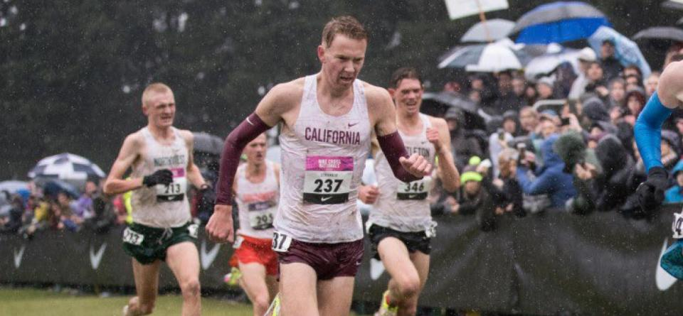 Strangio leading pack while running in the rain