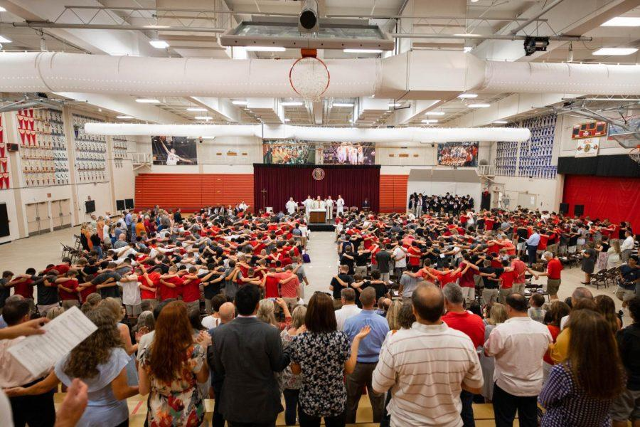 View of the interior of the Fr. Barry Gymnasium at the Freshman Orientation mass for the class 2023.