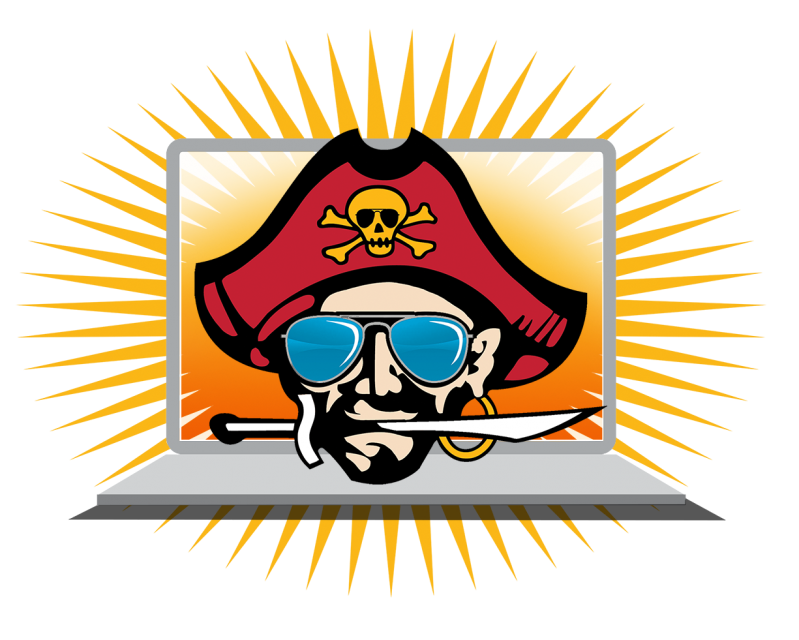 Image of mascot with sunglasses on an open laptop