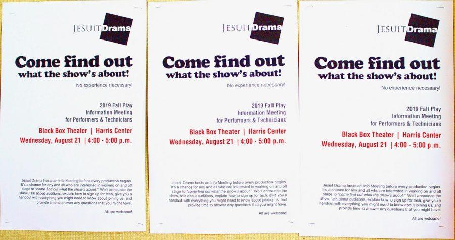 "Three posters stapled to bulletin board inviting students to ""Come find out what the show's about!"""